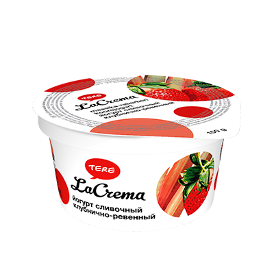 Tere LaCrema yogurt strawberry and rhubarb. Lactose free