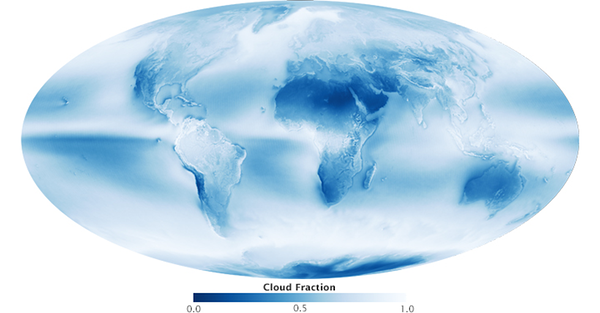 Figure 1. An average of all of the satellite's cloud observations between July 2002 and April 2015. Colors range from dark blue (no clouds) to light blue (some clouds) to white (frequent clouds). Based on data collected by the Moderate Resolution Imaging Spectroradiometer (MODIS) on the Aqua satellite. (Source: NASA Earth Observatory Website)