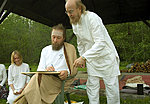 2007; Ingvar is being initiated as the Babaji Kriya Yoga acharya by M.G. Satchidananda. Lilleoru. Private collection