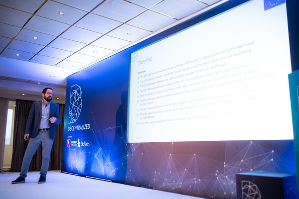 Giuseppe Raveduto presenting at SOFIE Workshop at Decentralized, Oct 2019 (Photo: decentralized.com)