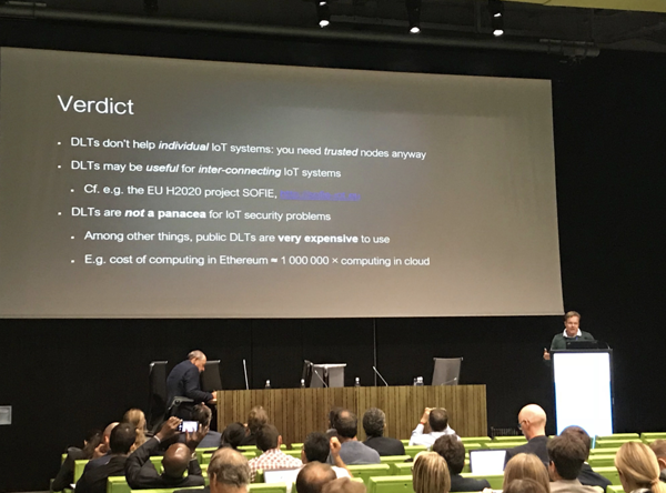 Pekka Nikander presenting SOFIE at IoTWeek in Bilbao,  Jun 2018
