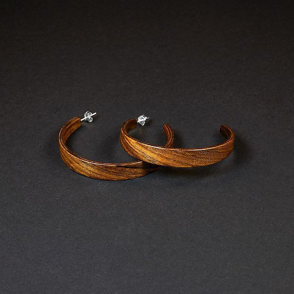 Rosewood hoop earrings