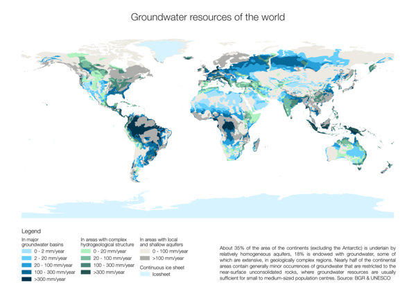 Day 27 (Topic: resources): Groundwater resources of the world. Groundwater is a scarce resource, yet vital for all life.