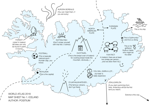 Day 28 (Topic: funny): Last year, one of our colleagues moved to Iceland to continue her studies. The team made her a #map so that she could safely navigate the new country and find her way home.