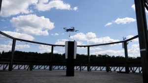 Cleveron's drone delivering an order by Viljandi lake