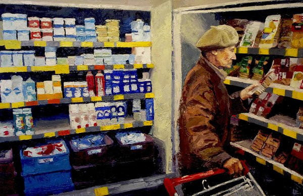 """Fragment in Grocery Store"". 2018. Oil on canvas. 46''x 70''. Private collection"