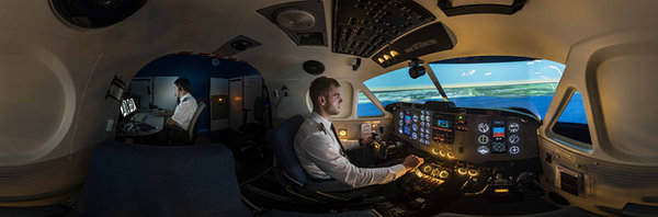Click on the picture to look around in the airplane simulator.