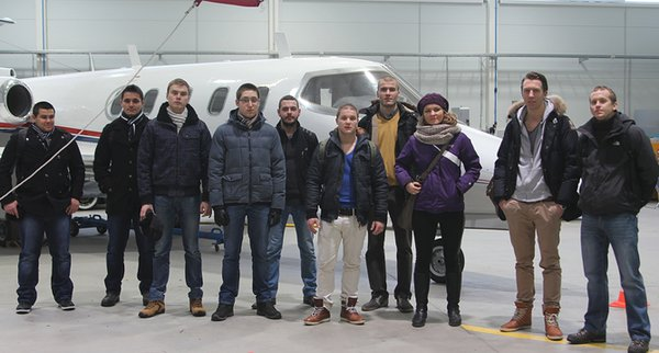 In an EAVA's hangar (taken by Laura Vetik) From left to right: Atanas Milev (Bulgaria), Pavlin Hristov (Bulgaria), Michal Czyz (Poland), Maciej Babelek (Poland), Michal Sulinski (Poland), Luuk van der Kolk (The Netherlands), Grzegorz Molas (Poland), Zuzana Sekerakova (Slovakia), Nick Soonius (The Netherlands), Jakub Zouhar (Czech Republic)