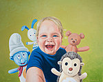 """A Boy & Co"" Oil on canvas, 81x65 cm. Commissioned portrait painting."