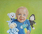 """F and Co"" Oil on canvas, 81x65 cm. A commissioned portrait of a one year old boy with his favourite toys."