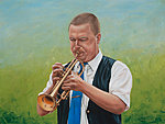 """A Man and His Instrument"" Oil on canvas, 80x60 cm. Commissioned portrait painting."