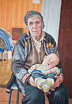 """Four generations, why granny smiles"" Oil on canvas, 70x100 cm. Great-grandmother with her great-grandchild."