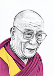 """Tenzin"" 5B pencil and Photoshop on A4 paper. Tenzin Gyatso, 14th Dalai Lama. Prints available."