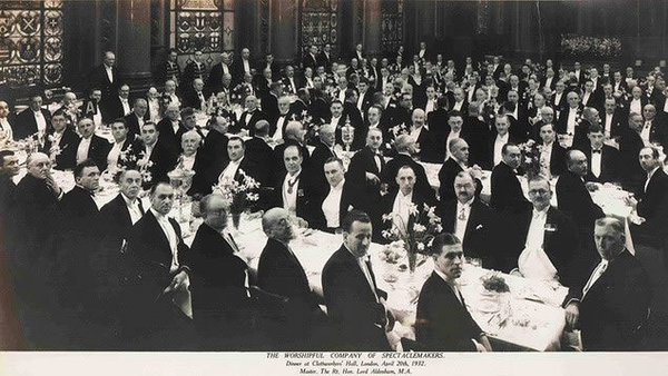 Group photograph, seated at tables of a dinner of the Worshipful Company of Spectacle Makers at Clothworkers' Hall, 20 April 1932. The Clothworkers' Hall was completely destroyed by a Luftwaffe bomb nine years later.