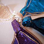 Ivory, Royal Iris and Dark Teal Maia and Turquoise Electra Silk Panties