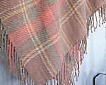 Pink handwoven throw with fringe from organic sheep wool