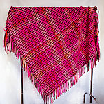 Handwoven wool throw with fringe. Bright&smashing