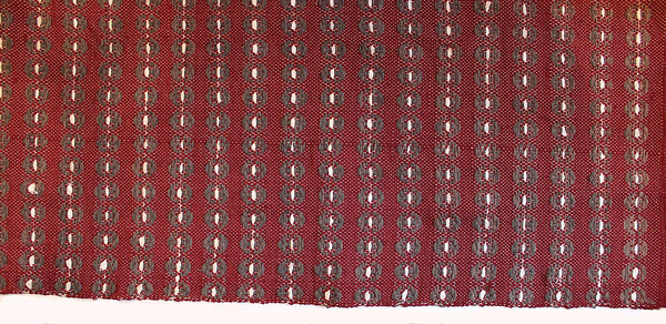 Handwoven woolen cherry-terracotta rug with white denim stripes  from Terra Mama e-shop