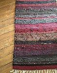 Handwoven twill rug 95 x 145 cm/37,5 x 57 in made from recycled textiles with fringe