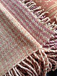 Handwoven wool throw with fringe colored with mushrooms