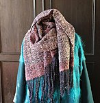 "Big handwoven wool scarf  ""Dark blue  & pink"" 62 x 200cm plus fringes"