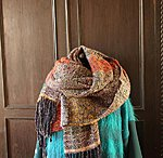 "Big scarf  ""Dark blue  & orange"" 62 x 270cm plus fringes"