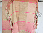 Handwoven wool throw in plaid and pinks
