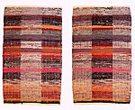 Double-sided handwoven rug, made from recycled textiles