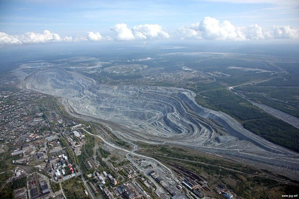 The view of open-pit asbestos mine near Asbest, Russia.