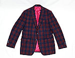 Check Suit Jacket Red & Blue Loro Piana 100% Wool