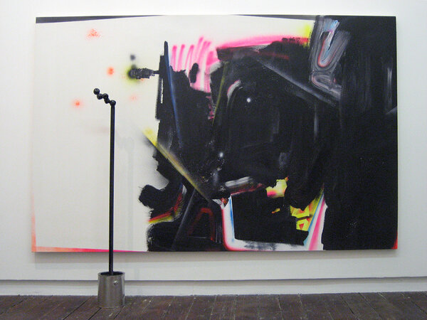 No-glo, 2007, acrylic and spray paint on canvas, steel, cement, aluminum bucket, plastic fruit, 60 x 96 x 15 inches