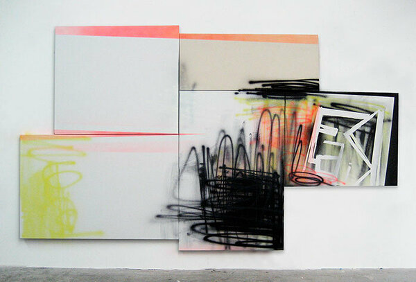Freshkills, 2009, acrylic on five canvases, 92 x 160 inches