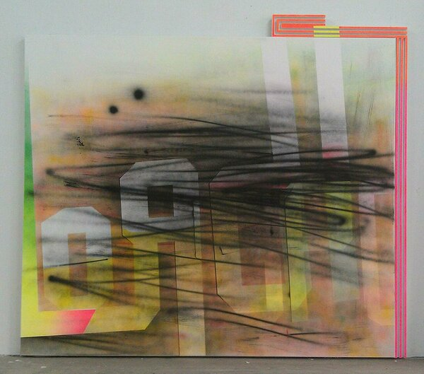Idrott, 2011, acrylic on canvas, wood and enamel artist's frame, 77 x 86 inches