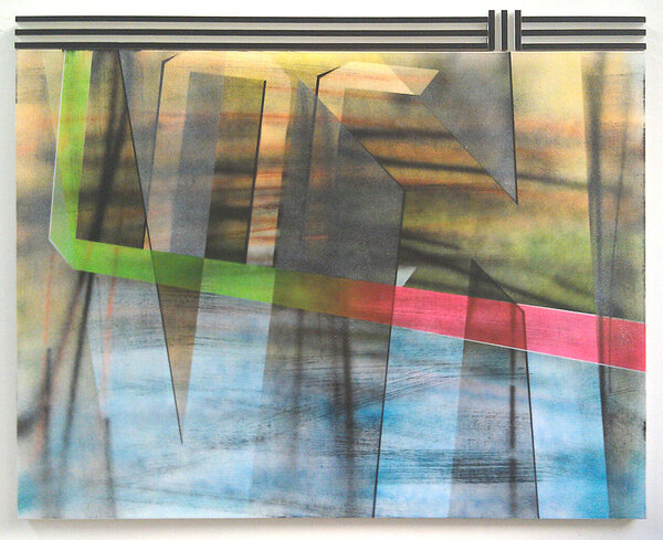 KV, 2011, acrylic on canvas, wood and enamel artist's frame, 38 x 47 3/4 inches
