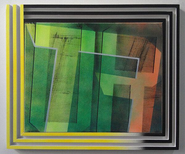 Rute, 2011, acrylic on canvas, wood and enamel artist's frame, 21 x 25 1/2 inches
