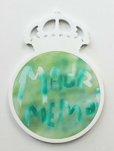 Madrid me Mata, 2014, acrylic on canvas, plexiglas and PVC artist's frame, 18 1/4 x 13 inches
