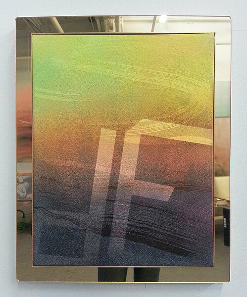Ode, 2014, acrylic on canvas, plexiglas and PVC artist's frame, 16 x 13 inches