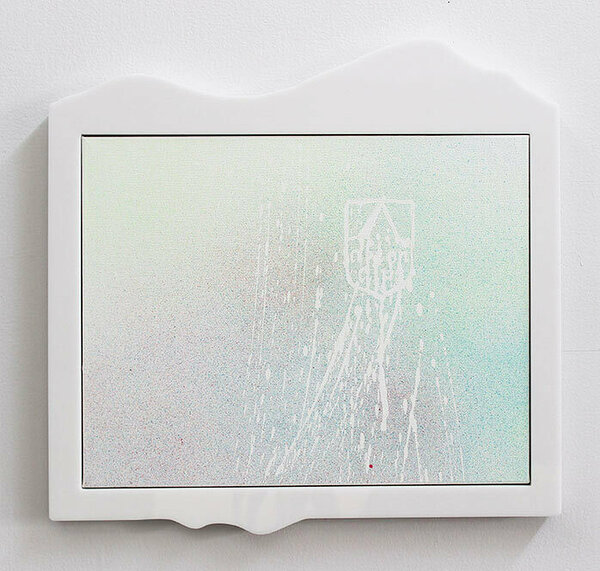 Afton Alps, 2015, acrylic on canvas, plexiglas and PVC artist's frame, 15 1/2 x 16 inches