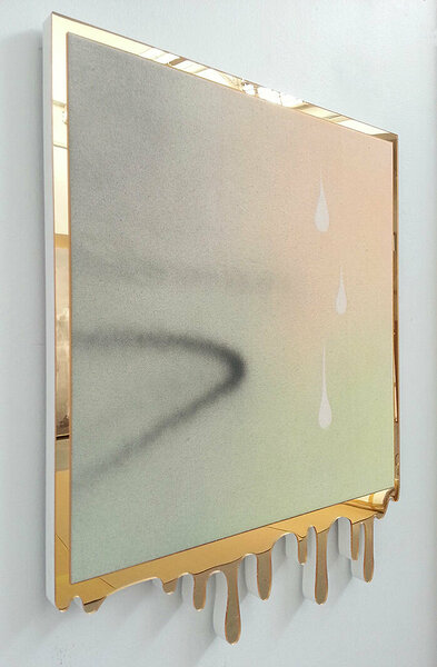 Fiction Habit, 2015, acrylic on canvas, plexiglas and PVC artist's frame, 23 x 19 inches