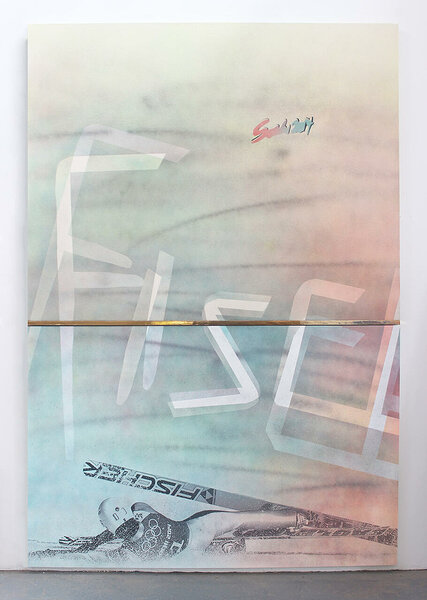 Fischer (Ernest Yahin), 2015, acrylic and inkjet on two canvases, plexiglas, PVC, 98 3/4 x 68 inches