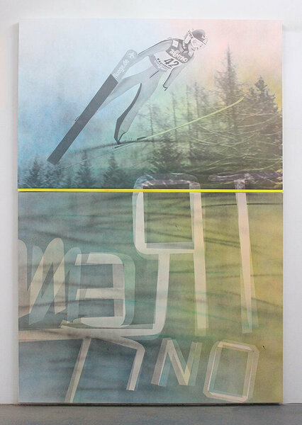 Trentino (Sarah Hendrickson), 2015, acrylic and inkjet on two canvases, wood, enamel, 98 3/4 x 68 inches