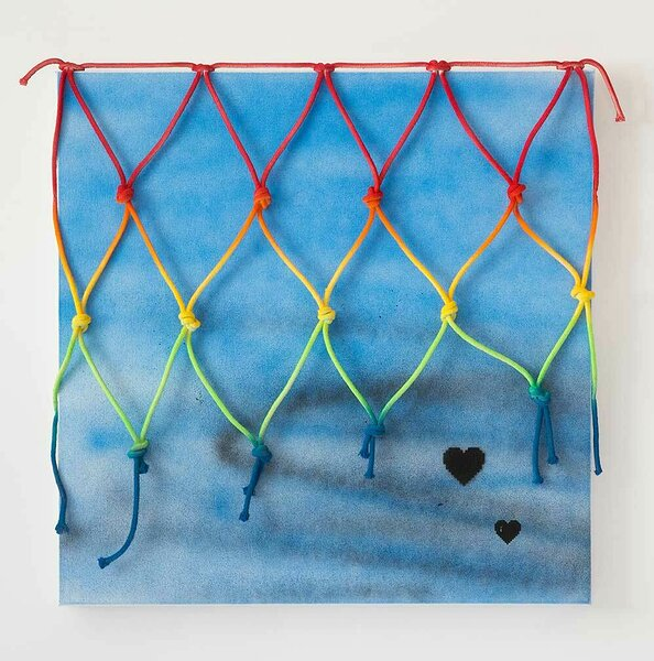 Hearts, 2016, acrylic on canvas, painted cotton rope, 30 x 30 inches