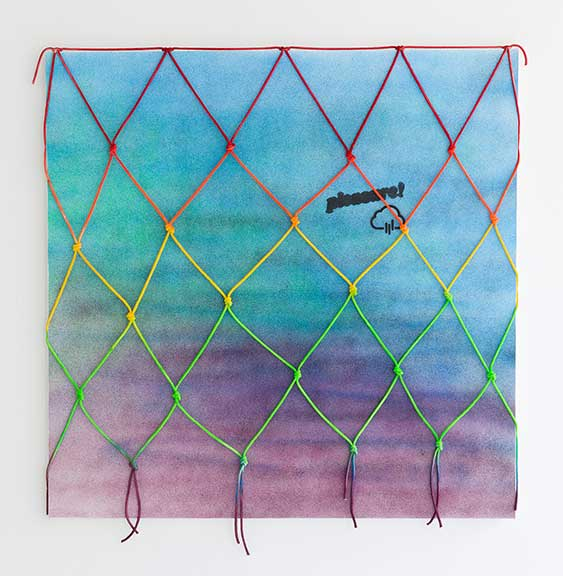 Raincloud (Pleasure!), 2016, acrylic on canvas, painted cotton rope, 60 x 60 inches