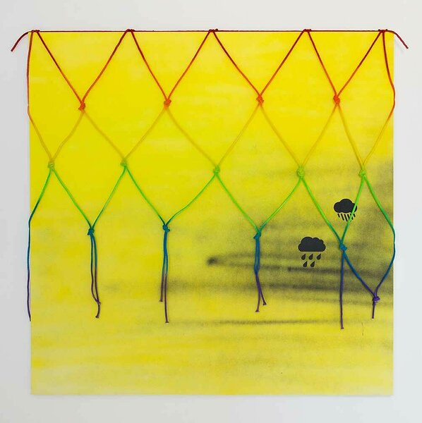 Raincloud (Yellow), 2016, acrylic on canvas, painted cotton rope, 60 x 60 inches
