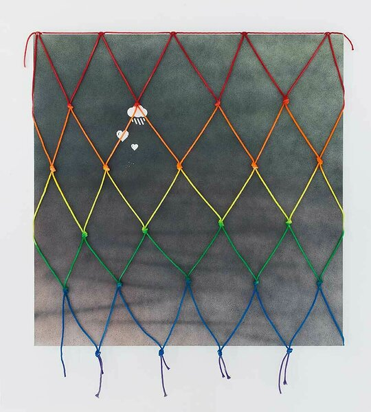 Raincloud (Grey), 2016, acrylic on canvas, painted cotton rope, 60 x 60 inches