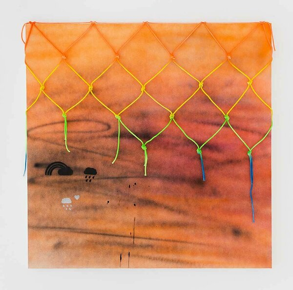 Raincloud (Orange), 2016, acrylic on canvas, painted cotton rope, 60 x 60 inches