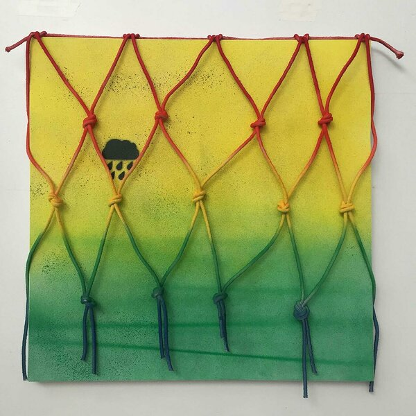 Raincloud (Yellow/Green), 2016, acrylic on canvas, painted cotton rope, 30 x 30 inches
