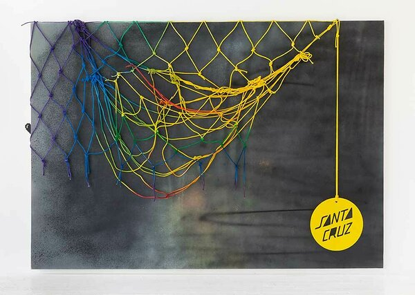 Santa Cruz, 2016, acrylic on canvas, painted cotton rope, plexiglas, 84 x 120 inches