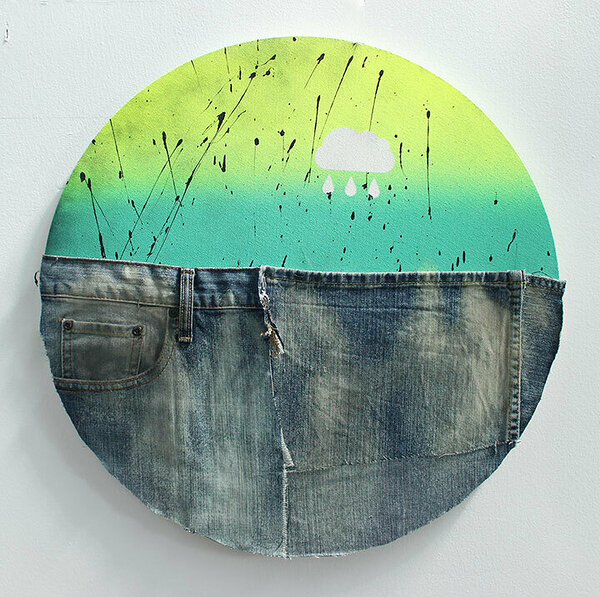 American Dirt Effect (Cloud Tondo), 2017, upcycled denim and acrylic on canvas, 20 x 20 inches
