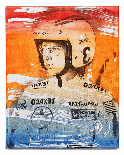 Janet Guthrie (red, orange, blue), 2017, xerox transfer and acrylic on canvas, 10 x 8 inches